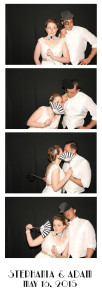 white photo booth strip with black background